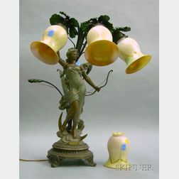 Art Nouveau Diana Figural Cast Metal Table Lamp with a Set of Four Quezal-type Cased Pulled-Feather Glass Shade...