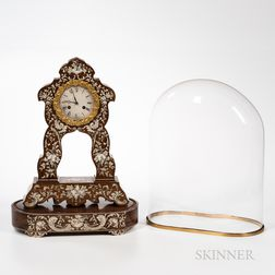 Rosewood Veneer and Inlaid Portico Clock and Stand