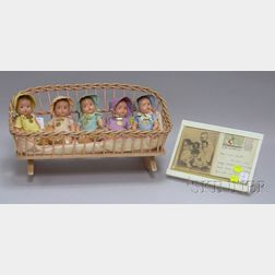 Completed Set of Five Madame Alexander Dionne Quintuplets and Signed Postcard