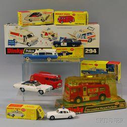 Seven Meccano Dinky Toys Die-cast Metal Emergency Vehicles