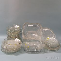 Collection of Colorless Pressed Pattern Glass Bread Trays