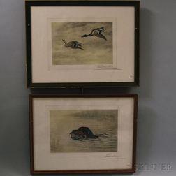 Leon Danchin (French/American, 1887-1939)      Two Duck-hunting Prints:   Setter Gordon No 105