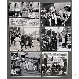 Malcolm X (1925-1965) Thirteen Photographs Taken Speaking at Rallies by Robert Haggins (1922-2006)