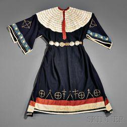 Sioux Blue Trade Cloth Dress with Dentalium Shell Decoration