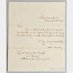 Woodbury, Levi (1789-1851) Secretarial Letter Signed, 4 December 1832.