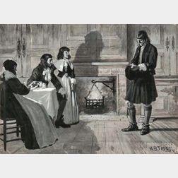Arthur Burdett Frost (American, 1851-1928)      Figures in a Colonial Interior