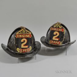 Pair of East Providence Fire Department Painted Tin Fire Helmets