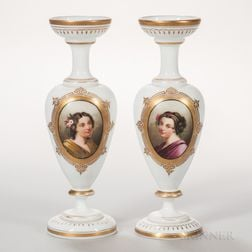 Pair of Bristol Glass Portrait Vases
