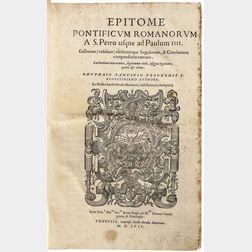 Panvinio, Onofrio (1529-1568) Epitome Pontificum Romanorum a S. Petro usque ad Paulum IIII.