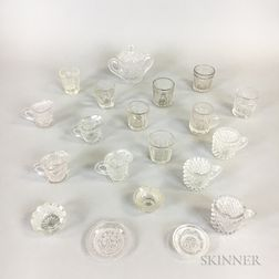 Twenty Miniature Colorless Pressed Glass Items.     Estimate $20-200