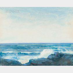Wilson Henry Irvine (American, 1869-1936)      Gentle Waves on a Rocky Coast