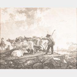 François Vivarès (French, 1709-1780), After Aelbert Cuyp (Dutch, 1620-1691)      Abend   (The Evening)