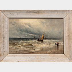 Gustave de Breanski (British, c. 1856-1898)      Fishing Boat Approaching the Beach.