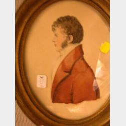 Framed Oval Format Watercolor Portrait of a Gentleman in a Red Jacket.