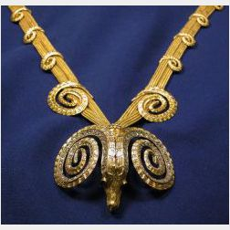 18kt Gold and Diamond Ram's Head Necklace