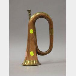 Brass Mounted Copper Bugle.