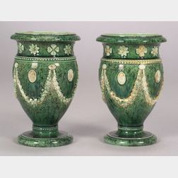 Pair of Wedgwood Porphyry-style Green Glazed White Terra Cotta Vases