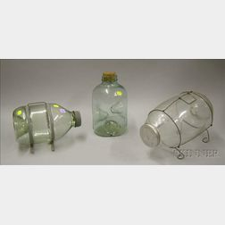 Three Molded Aqua and Colorless Glass Minnow Traps