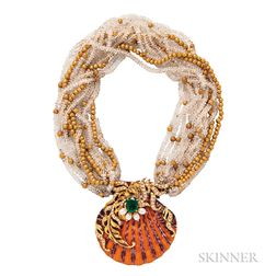 18kt Gold, Emerald, and Diamond Shell Necklace