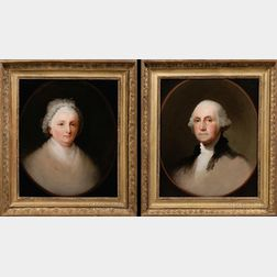Attributed to Jane Stuart, (American, 1812-1888)      Pair of Portraits:  George and Martha Washington.