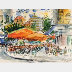 Charles Peter Demetropoulos  (Greek/American, 1912-1976)      Cafe View in Kolonaki, Athens