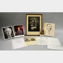 Eight Assorted 20th Century Notables Autographed Items