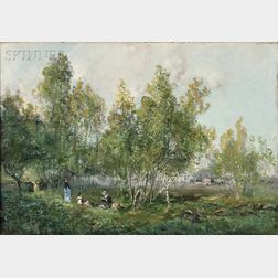 Godefroy de Hagemann (French, 1820-1877)      Picnickers in a Grove of Trees
