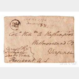 Washington, George (1732-1799) Holograph Envelope Face with Free Frank, Signed as President, 21 September 1794.