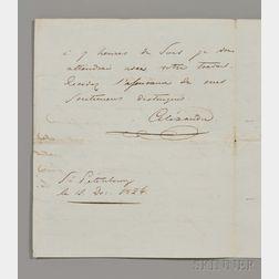 Alexander I, Emperor of Russia (1777-1825) Autograph Letter Signed, St. Petersburg, 12 December 1820.