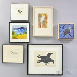 Seven Framed Works of Birds and Landscapes.     Estimate $20-200