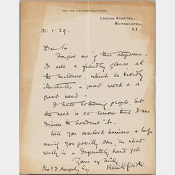 Sydney Holland, 2nd Viscount Knutsford (1855-1931) Autograph Letter Signed, 31 January 1929.