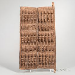 Dogon-style Carved Wood Granary Door