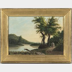 Attributed to Charles Codman (Maine, 1800-1842)      River Landscape with Fisherman and Covered Wagon