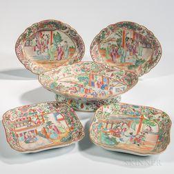 Five Rose Mandarin Export Porcelain Serving Dishes