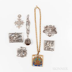 Group of Sterling Silver Jewelry and Two Ecclesiastic Pieces