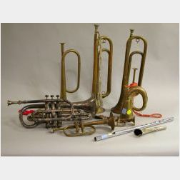 Eleven Assorted Brass and Silver Plated Wind Instruments and Accessories