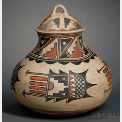 Large Southwest Polychrome Pottery Jar with Lid