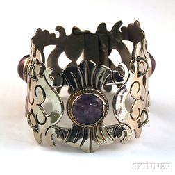 Mexican Silver and Amethyst Bracelet
