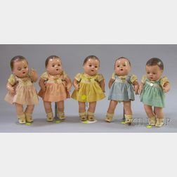Complete Set of Five Madame Alexander Dionne Quintuplets Dolls