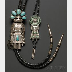 Four Southwest Silver and Stone Bolo Ties