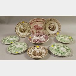 Nine Staffordshire Transfer-decorated Plates and Serving Items
