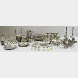 Forty-eight Pieces of Assorted Pewter Tableware