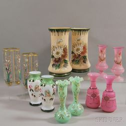 Six Pairs of Various Glass Vases