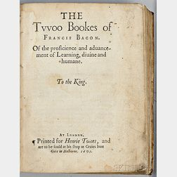 Bacon, Francis (1561-1626) The Twoo Bookes of Francis Bacon of the proficience and aduancement of Learning,   diuine and humane.