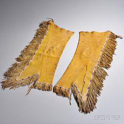 Pair of Kiowa Man's Beaded Hide Leggings