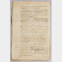 Jefferson, Thomas (1743-1826) Facsimile Steel-engraved Draft of the Declaration of Independence.