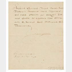 Catherine the Great of Russia (1729-1796) Secretarial Letter Signed, 13 May 1791.