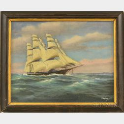 T. Bailey (American, 19th/20th Century)      Square-rigged Vessel Under Sail