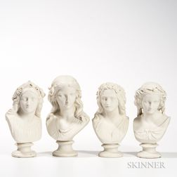 Four Copeland Parian Busts of Maidens