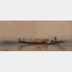 Robert Swain Gifford (American, 1840-1905)    Gondolas on the Venetian Lagoon